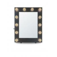 Гримерное зеркало в черной раме с подсветкой лампочками «Камерон»