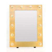 Гримерное зеркало в желтой раме с подсветкой лампочками «Майли»