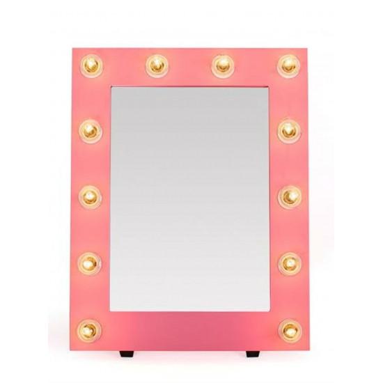 Гримерное зеркало в розовой раме с подсветкой лампочками «Мелинда»