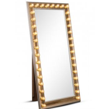 Гримерное зеркало большое напольное в полный рост с подсветкой лампочками «Ширли»