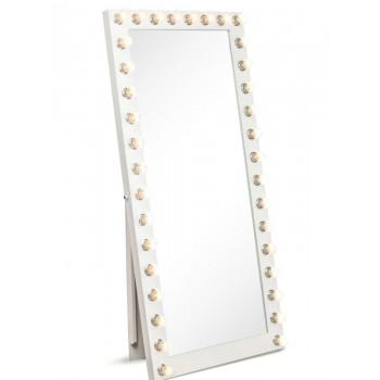 Гримерное зеркало большое напольное в полный рост с подсветкой лампочками «Виктория»