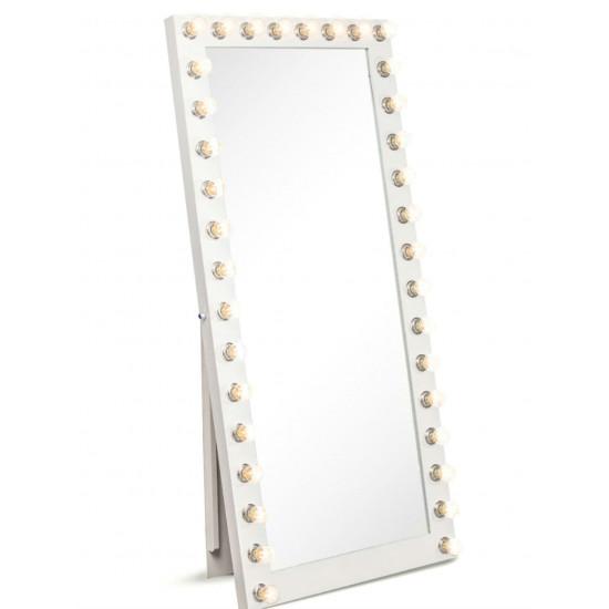 Гримерное зеркало большое напольное в полный рост с подсветкой лампочками «Виктория» в интернет-магазине ROSESTAR фото