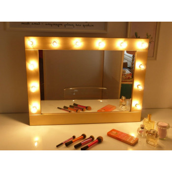 Гримерное зеркало в раме с подсветкой лампочками «Барбара»