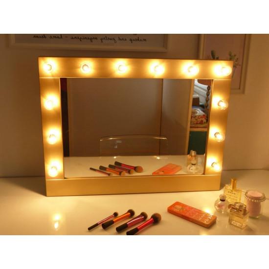 Гримерное зеркало в деревянной раме в стиле лофт с подсветкой лампочками «Барбара»