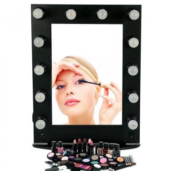 Гримерное зеркало Чёрное с подсветкой лампочками