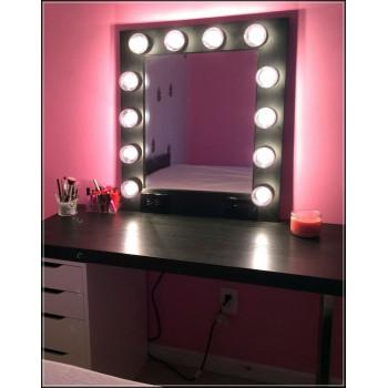 Гримерное зеркало в раме с подсветкой лампочками «Элис»