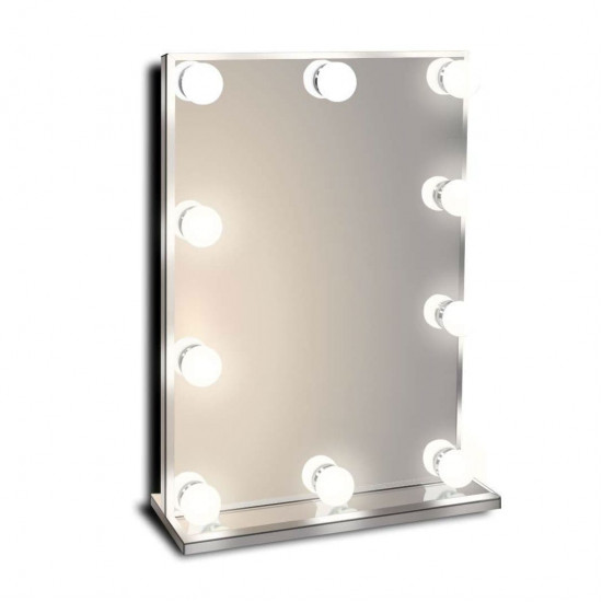 Гримерное настольное зеркало без рамы с подсветкой лампочками Hollywood