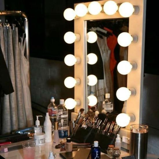 Голливудское гримерное зеркало в бежевой раме с подсветкой лампочками «Шэрон»