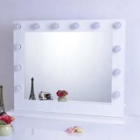 Гримерное настольное зеркало Белое с подсветкой лампочками