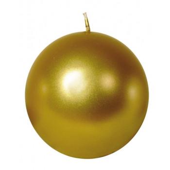 Свеча шар 8см золотая 100043