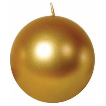 Свеча шар 10см золотая 100049