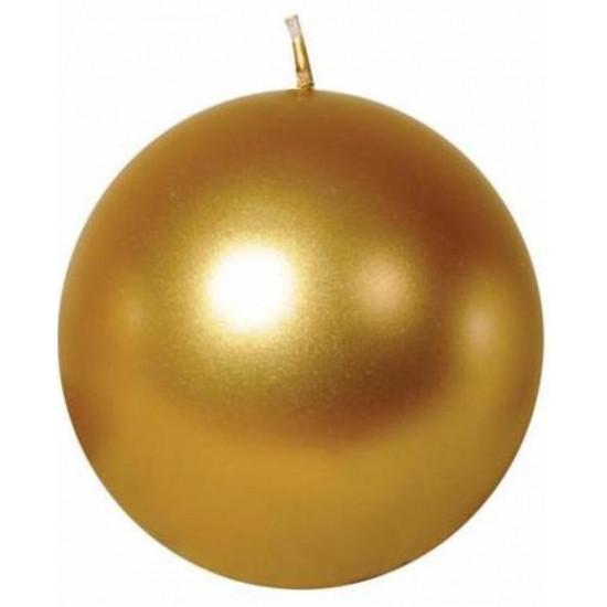 Свеча шар 10см золотая 100049 в интернет-магазине ROSESTAR фото