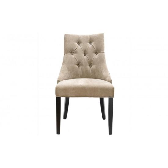 Велюровый стул на деревянных ножках бежевый 89*46*52см PJC236-PJ842 в интернет-магазине ROSESTAR фото
