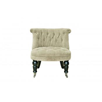 Низкое велюровое кресло на деревянных ножках бежевое 69*40*58см PJC742-PJ842