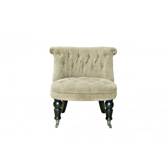Низкое велюровое кресло на деревянных ножках бежевое 69*40*58см PJC742-PJ842 в интернет-магазине ROSESTAR фото