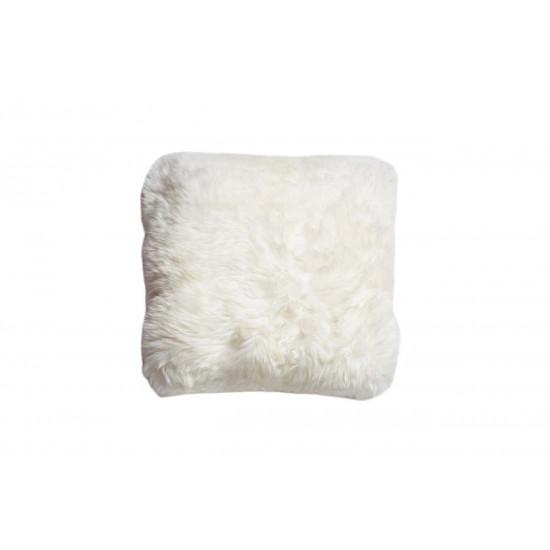 Меховая белая квадратная подушка односторонняя 40*40 в интернет-магазине ROSESTAR фото