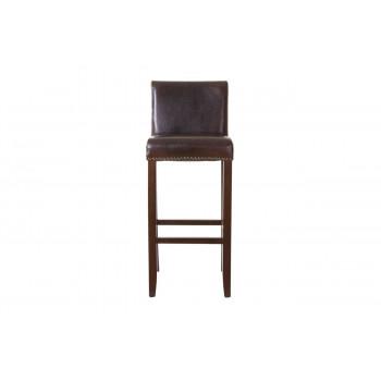 Барный стул на деревянных ножках натуральная кожа коричневый 43*40*107см PJH045-PJ530