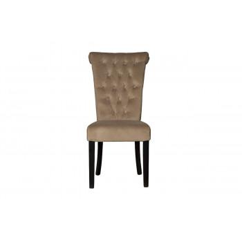 Велюровый стул с кольцом на деревянных ножках бежево-серый 98*47*53см PJC597-J631