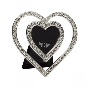 Фоторамка со стразами Двойное сердце 10,2х1,5х10,2 LS8831