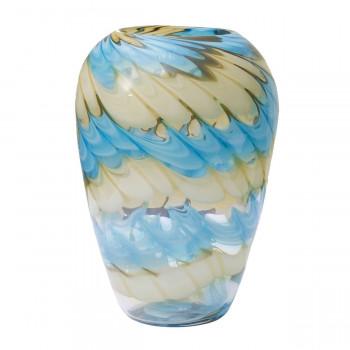 Стеклянная ваза бело-синяя H27D18,5 HJ666-28-F51
