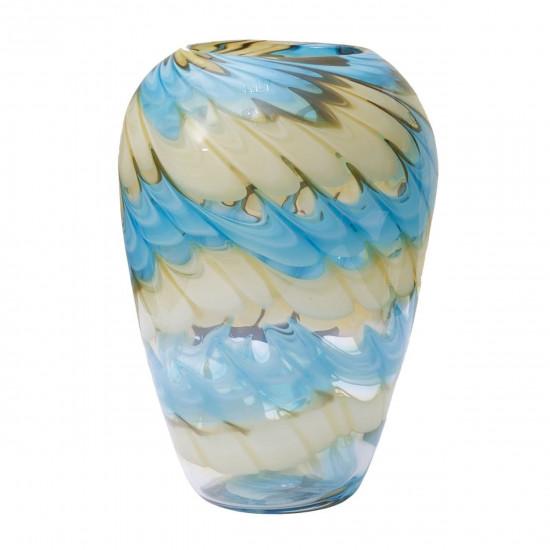 Стеклянная ваза бело-синяя H27D18,5 HJ666-28-F51 в интернет-магазине ROSESTAR фото