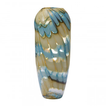 Стеклянная ваза бело-синяя H36D14