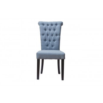 Стул из ткани лён с высокой спинкой с кольцом на деревянных ножках серо-голубой 98*47*52см PJC597-J62