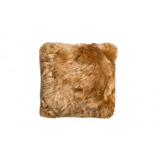 Меховая квадратная подушка односторонняя шампань в интернет-магазине ROSESTAR фото