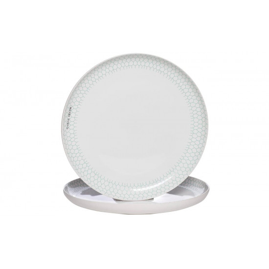 Тарелка белая с бирюзовым рисунком (2) 30*30*3,3 CB2193-30-F138 в интернет-магазине ROSESTAR фото