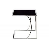 Серебряный приставной журнальный стол на каркасе из нержавеющей стали с чёрным стеклом 50*45*49 черный/серебро 13RXNT5076L-SILVER