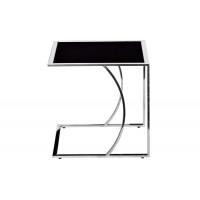 Приставной журнальный столик с чёрным стеклом на металлическом каркасе 45*40*44 черный/серебро 13RXNT5076M-SILVER