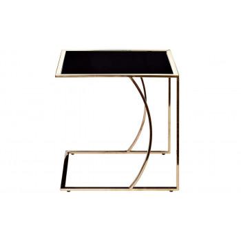 Приставной журнальный столик со стеклом 50*45*49 Черный/розовое золото 13RXNT5076L-GOLD