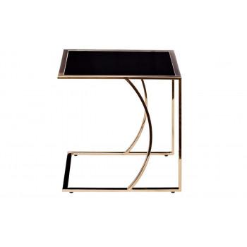 Металлический журнальный столик со столешницей из стекла 45*40*44 Черный/розовое золото