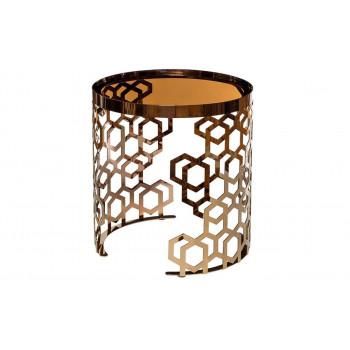 Золотой круглый журнальный столик с коричневым стеклом на металлической основе d50*50см 13RXET8011-GOLD