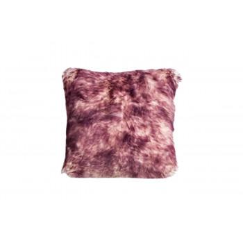 Меховая квадратная подушка односторонняя розово-палевая