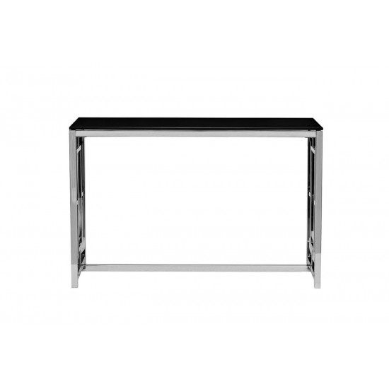 Металлическая консоль из нержавеющей стали с чёрным стеклом 40*120*78см GY-CST2051212 в интернет-магазине ROSESTAR фото