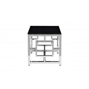 Квадратный металлический журнальный столик с чёрным стеклом 53*50*50см GY-ET2051212