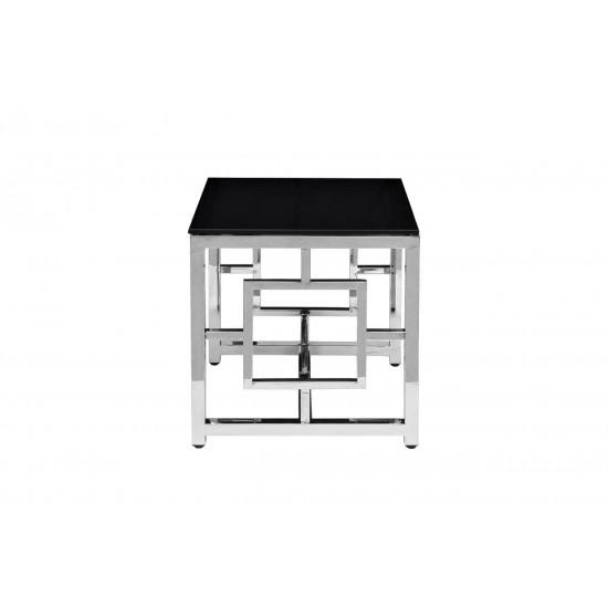 Квадратный металлический журнальный столик с чёрным стеклом 53*50*50см GY-ET2051212 в интернет-магазине ROSESTAR фото