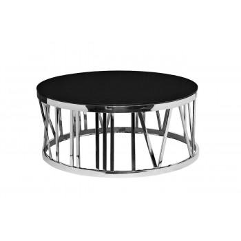 Металлический круглый журнальный столик с чёрным стеклом d100*42см GY-CT7737