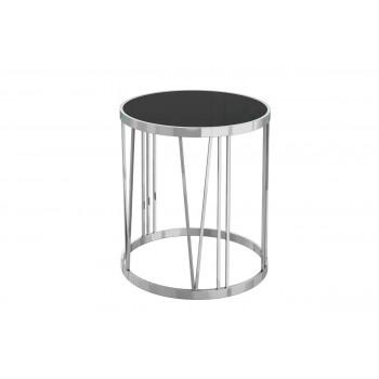 Металлический круглый журнальный столик с чёрным стеклом d50*55см GY-ET7738