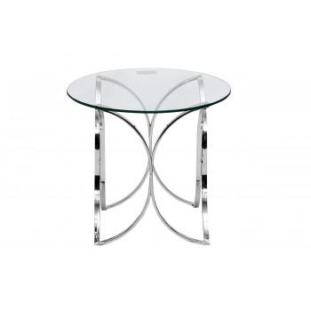 Стеклянный журнальный столик на металлическом каркасе со стеклянной столешницей d60*55см GY-ET7747