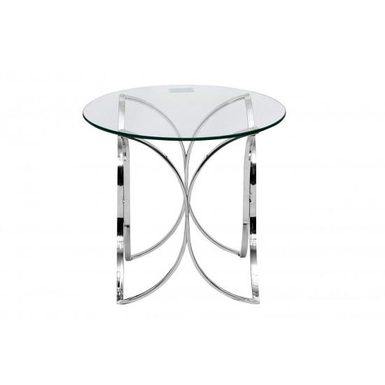 Стеклянный журнальный столик на металлическом каркасе со стеклянной столешницей d60*55см GY-ET7747 в интернет-магазине ROSESTAR фото
