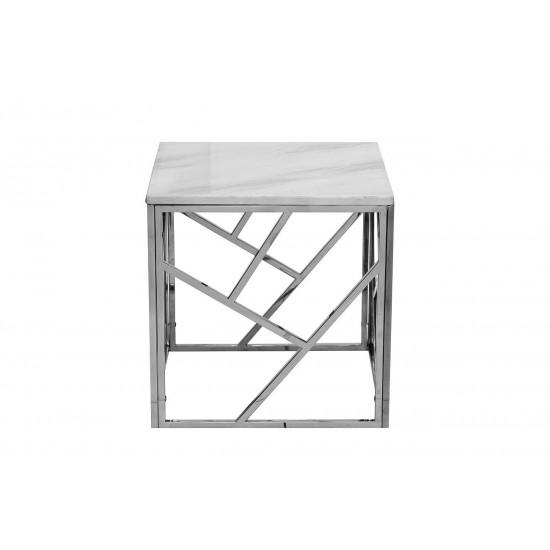 Квадратный журнальный столик с мраморной столешницей на металлическом каркасе 50*50*50см GY-ET2051214BLSM в интернет-магазине ROSESTAR фото