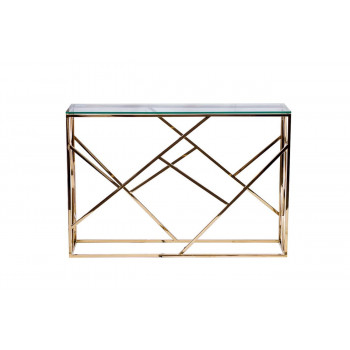 Металлическая золотая консоль с прозрачным стеклом 30*115*78см GY-CST2051214GOLD