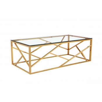 Металлический прямоугольный золотой журнальный столик со столешницей из прозрачного стекла 60*120*40см GY-CT2051214GOLD