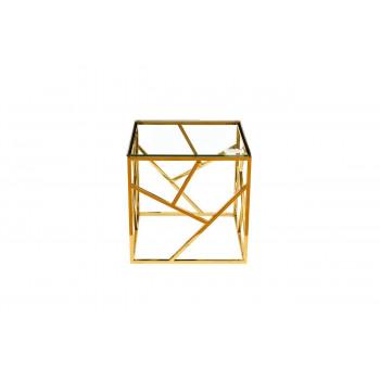 Золотой журнальный столик с прозрачным стеклом 50*50*50см GY-ET2051214GOLD