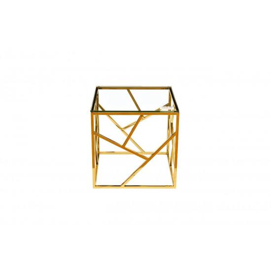 Золотой журнальный столик с прозрачным стеклом 50*50*50см GY-ET2051214GOLD  в интернет-магазине ROSESTAR фото
