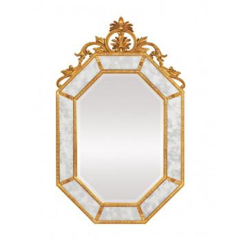 """Дизайнерское красивое настенное зеркало в золотой раме """"Лидс"""" Золото"""