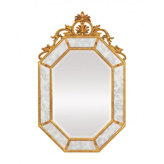 """Дизайнерское красивое настенное зеркало в золотой раме """"Лидс"""" Золото в интернет-магазине ROSESTAR фото"""