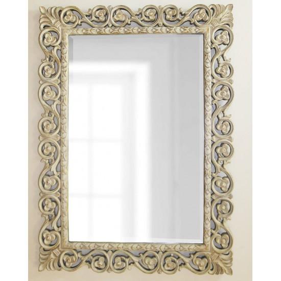 Зеркало в прямоугольной красивой раме Бергамо Artisan Ivory в интернет-магазине ROSESTAR фото
